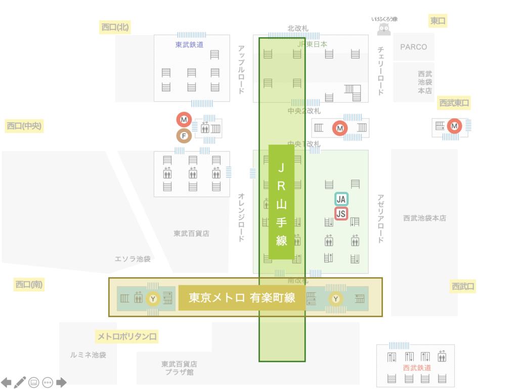 図:池袋駅 有楽町線と山手線の位置関係